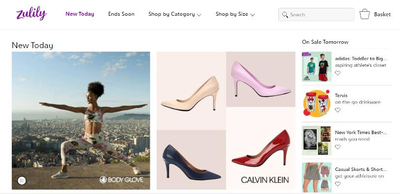Zulily Home Page - sito di vendite private in USA